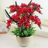 SCLOTHS Flores Artificiales Casa Orquídeas Accesorios Kit de plástico Rojo