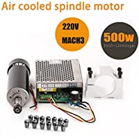 TopDirect 500W CNC Spindle Motor 0.5kw Air Cooled Milling Spindle Motor + 220V MACH3 Speed Power Converter + 52mm Clamp + 13pcs ER11 Collet for DIY Engraving