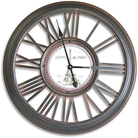 Moycor Decoracón - Reloj de pared Charlotte,, metal, redondo, números romanos, 66,5 x 7,5 x 66,5 cm