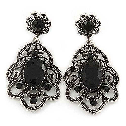 Orecchini pendenti in stile vittoriano in filigrana, toni argento antico e pietre nere, 50 mm.