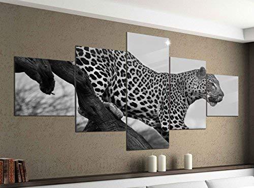 Leinwandbild 5 tlg. 200cmx100cm Leopard Tier Baum Raubkatze Afrika schwarz weiß Bilder Druck auf Leinwand Bild Kunstdruck mehrteilig Holz 9YA1360, 5Tlg 200x100cm:5Tlg 200x100cm