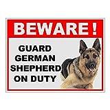 #2: SignageShop Beware of Guard Dog German shepard on Duty Sign Sticker 8X6 inch...