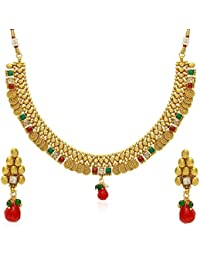 Jewels Galaxy Red Green Traditional Golden Necklace Set