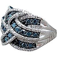 Diadia - Anillo de zafiro azul, galvanizado, plata de ley 925, diseñado para