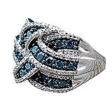 diadia gelegt werden ️ galvanisiert 925Silber Blau Sapphire Ring für Frauen zu Design Home Casual Wear, blau, 8#