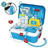 Doktor Arztkoffer Medical Kit Spielset Kleiner Rucksack Rollenspiel Spielzeug mit 17-teiligfür für Kinder, 20*24cm, Blau