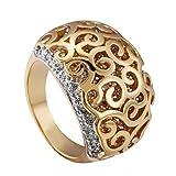 PAMTIER Damen Edelstahl Kreativ Hohl Design Doppel Farbe Günstiges Muster Ring Mit Zirkonia Diamant Gold Ton Größe 60 (19.1)