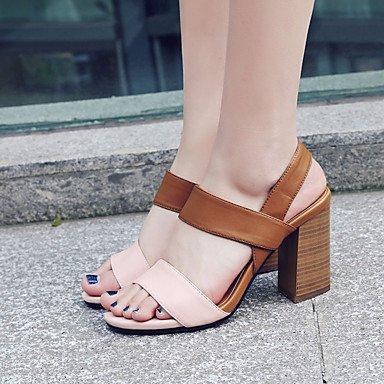 LvYuan Da donna Sandali Pelle Primavera Estate Fibbia Quadrato Nero Marrone chiaro 7,5 - 9,5 cm light brown