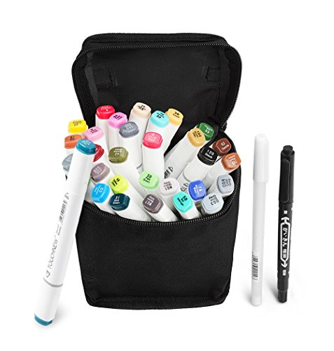 Und Kunst Kostüme Halloween Handwerk (TOUCHNEW 30 Color Marker Pen Set Dual Tips Kunst Sketch Twin Marker Pens Highlighters mit Tragetasche für Malerei Coloring Hervorhebung und Unterstreichung (Comic Selection) (30 Set, Weiß))