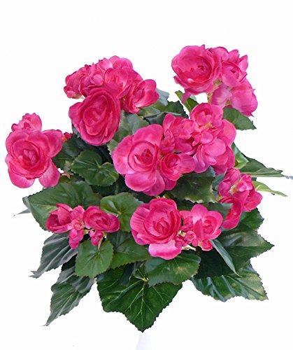 artplants.de Set de 3 x Begonia Artificial Lamia, 70 Flores, Rosa, 30cm – Pack de Flores sintéticas – Arbusto de Begonia…