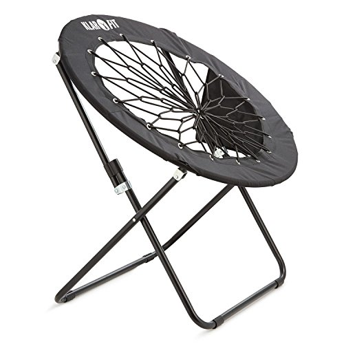 Klarfit Bounco • Bungee Chair • Campingstuhl • Klappstuhl • strapazierfähige Bungee-Seile • elastische Textilbespannung • faltbar • platzsparende Aufbewahrung • rund • max. 100 kg • schwarz