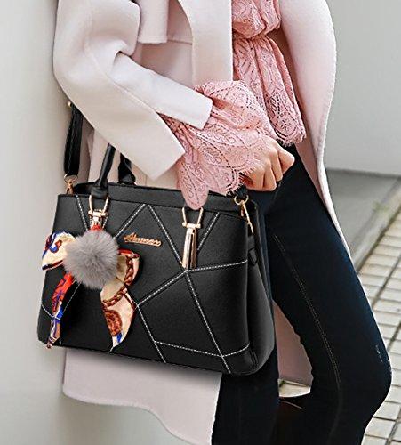 ZiXing Borsa A Spalla Donna Goffratura Geometria Borsa A Tracolla con Sciarpe Blu Pink