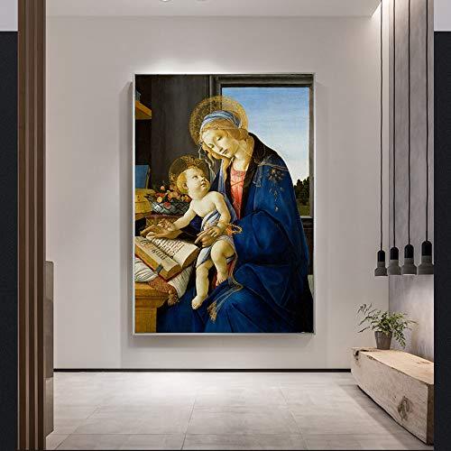 Sin marcoSandro Botticelli-la Virgen y el Niño Lienzo en la Pared La Virgen del Libro Famoso ngs Reproducción Decoración 40x60cm