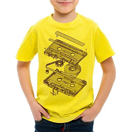 style3 DJ Tape Camiseta para Niños T-Shirt Turntable 3D MC, Color:Amarillo;Talla:128