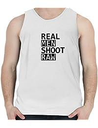 Snoogg Real Men Shoot Raw Casual Slogan / Cotton Mens Casual Vests Tank Tops Beach Wear