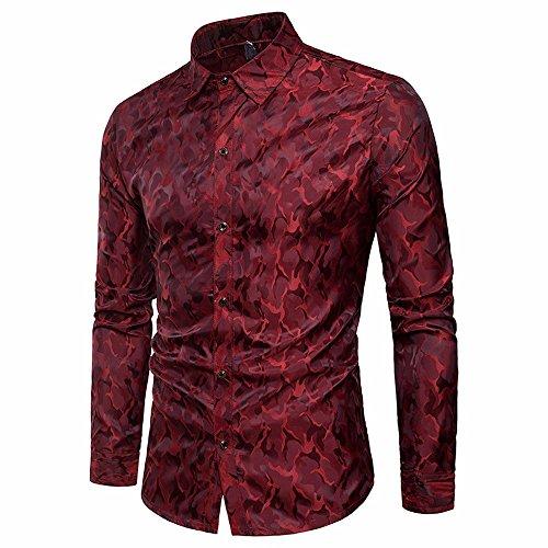 Camicia uomo landfox slim fit camicia da uomo slim fit manica lunga casual button camicie formale top blouse camouflage digital print stampa digitale camicia miscela di cotone casual