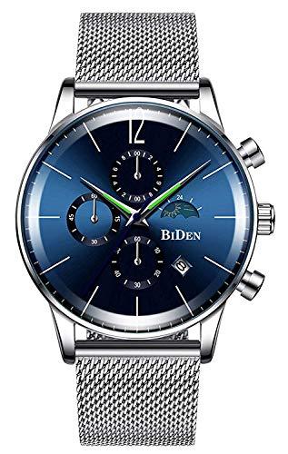 BHGWR Analoge Quarzuhr für Herren, 30M wasserdicht Armbanduhr für Männer mit Datumsanzeige und Stoppuhr, Silber Uhren mit Edelstahl Mesh Armband für Herren