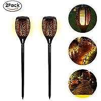 EleLight 2Pack Luz Solar de Antorcha, 96 LEDs Impermeable Parpadeo llamas Paisaje Césped Lámpara con Bailando Llamas para Jardín al Aire libre Patio Decoración de Piscina