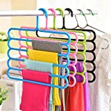 Topinon Plastic Multipurpose 5 Layer Hanger - (Set of 5)-Color May be Vary