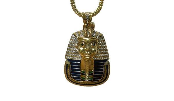 24K plaqué Or Toutânkhamon égyptien couleur PENDENTIF HIP HOP BLING chaîne