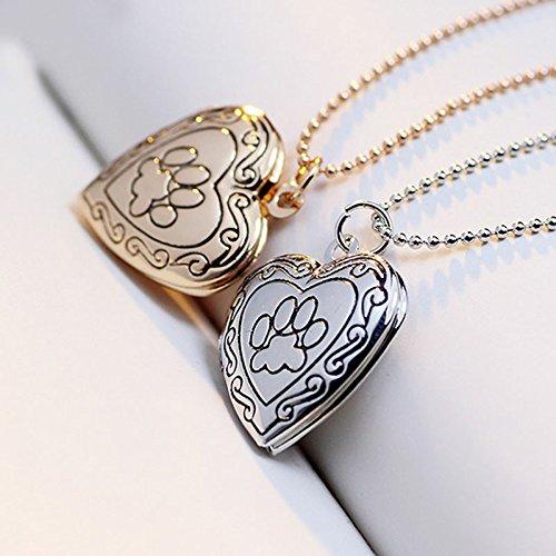 Medaillon Halskette Valentine Liebhaber Geschenk Tier Hund Pfotenabdruck Bilderrahmen Können Offene Medaillon Halskette Herz Anhänger Frauen (Gold) (Gold-herz-bilderrahmen)