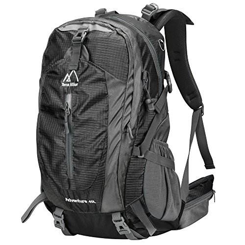 Terra Hiker Zaino Escursionismo 40L, Zaino da Trekking/Montagna, Impermeabile, Unisex, Ideale per l'Arrampicata, il Campeggio, le Escursioni in Montagna (Nero)