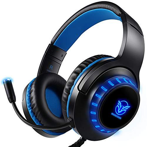 Auriculares Gaming para PS4 Nintendo Switch Xbox one PC, Cascos Gaming con Micrófono Bass Surround Cancelacion ruido