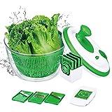 GreensKon Salatschleuder mit großem Fassungsvermögen (5L), Salattrockner inklusive Salatschüssel und Sieb mit 3 Mandolinen Schneidemaschinen und 1 x Eier-Separator
