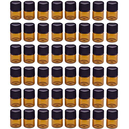 Haodou 48 stücke 1 ml Bernstein Glas Fläschchen Nachfüllbare Leere Glas Ätherisches Öl Flasche mit Öffnung Minderer Schwarz Kunststoff Kappe -