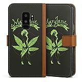 DeinDesign Tasche Leder Flip Case Hülle kompatibel mit Samsung Galaxy S9 Plus Maryjane Marihuana Hanf