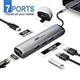 FITFORT USB C Hub Premium Adapter - 7 in 1 Dongle mit PD Charging Port, 4K HDMI Output, Ethernet, 3 USB 3.0 Ports, Kompatibel für MacBook Air,MacBook Pro 2018,Samsung S8/S9,Huawei Mate 20,P20,usw