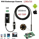 HITSAN 720p 8mm 1m cable ip67 waterproof hd wifi endoscope inspection camera android ios mini wifi camera car inspection endoscopic