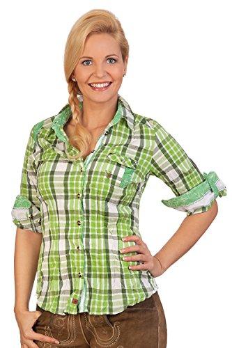 Trachten Bluse Crashoptik, langer Arm - WICKE - grün, rot Grün