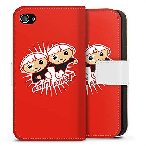 Apple iPhone X Silikon Hülle Case Schutzhülle Sternzeichen Zwilling Astrologie Sideflip Tasche weiß