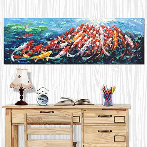Wand Leinwand Kunst Bild Drucken Abstrakte Fengshui Koi Fisch Lotus Landschaft Chinesische Malerei & Kalligraphie Poster Für Wohnzimmer 40 * 120 cm (Koi Fisch-wand-kunst)