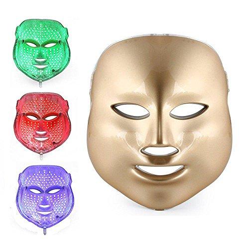 7 Farbe LED Maske Gesichts Licht Therapie Behandlung Verjüngung Gesichts Schönheit Haut Pflege Photon Therapie Maske zum Akne Falten Aufhellung Gold / Weiß , Gold - Aufhellung Feuchtigkeit Behandlung