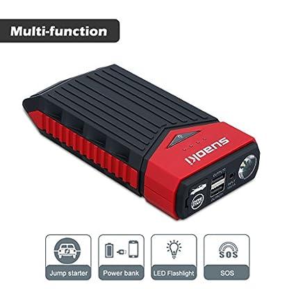 SUAOKI T10 – Arrancador de Coche 12000mAh, 400A Jump Starter Cargador de 12V Batería para Vehículo (Batería Externa, LED, Arranque Kit para Coche con Pinzas Inteligentes) Negro&Rojo