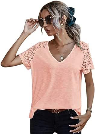 Maglietta da donna a maniche corte con scollo a V, tinta unita, stile patchwork