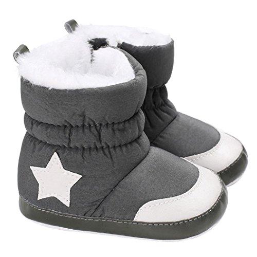 Janly Schuhe für 0-2 Jahre Baby, Winter Warm Booties Mädchen Boy Star Baumwolle Schnee Stiefel Infant Kleinkind Zip Crib Schuhe Erste Wanderer (12-18 Monate, Schwarz) (Kleinkind-jungen-schnee-stiefel)