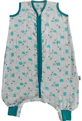 Schlummersack Schlafsack mit Füßen aus Bambus-Musselin für den Sommer ungefüttert in 0.5 Tog Elefanten unisex- 12-18 Monate/80cm