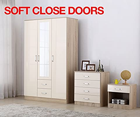 Gladini XL High Gloss 3 Door 3 Piece Trio Bedroom Furniture Set - Includes Wardrobe, 4 Drawer Chest, Bedside Cabinet
