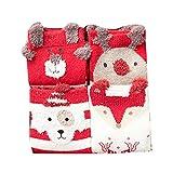 Chaussettes Enfant Fille Garçon pour Noel - Chaussettes 4 Paires pour Automne/Hiver Motif de modèles Animaux Elks de Noël/M/16-18cm/3-5Y