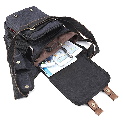 51cvFb7Rj L. SS500  - S-ZONE Mens Vintage Canvas PU Leather Military Utility Shoulder Messenger Bags