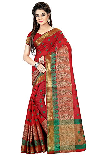 Royal Export Women's Cotton Silk Saree (Red)