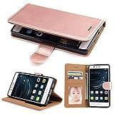 Huawei P9 Lite 2016 Hülle, SOWOKO Leder Etui Handyhülle für Huawei P9 Lite (2016) Brieftasche Tasche mit Integrierten Kartensteckplätzen und Ständer /Magnetverschluss, Rose Gold