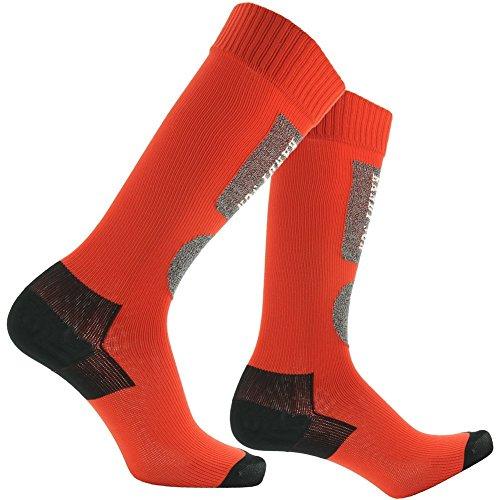 Schutz-system-schnee-hose (RANDY SUN Atmungsaktiv Wasserdichte Socken, [SGS Zertifiziert] Unisex Knie Länge wandern Trekking Ski Socke 1Paar, Herren, 1 Pair-Red & Black)