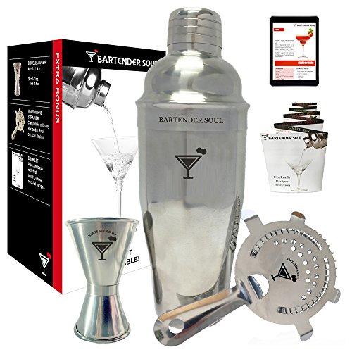 Set da Cocktail Shaker Cobbler Professionale Avanzato di Bartender Soul® - 750ml - Ottimo Set, misurino Jigger, un filtro esterno Boston Hawthorne ed selezione di ricette - Regalo
