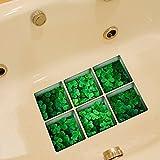 ungfu Mall pag 6pcs 13x 13cm de trébol de cuatro hojas patrón 3d antideslizante resistente al agua bañera adhesivo