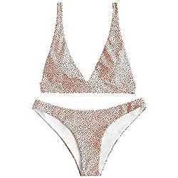 ZAFUL Bikini Set Triangular Sexy Bikini De Lunares con Relleno para Mujer 2019 (Rosa, S (EU.36))