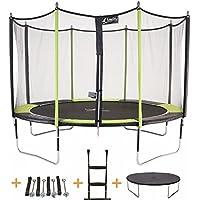 Kangui - Trampoline JUMPI Pop + Filet + échelle PVC + Couverture de propreté + kit d'ancrage - Noir et Vert - Ø250cm - 300cm - 360cm - 430cm